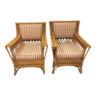 1917 Americana Heywood-Wakefield Striped Wicker Chair and Rocker