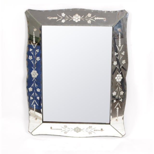 Mid-Century Modern Italian Mid-Century Modern, Faceted & Etched Venetian Wall Mirror For Sale - Image 3 of 13