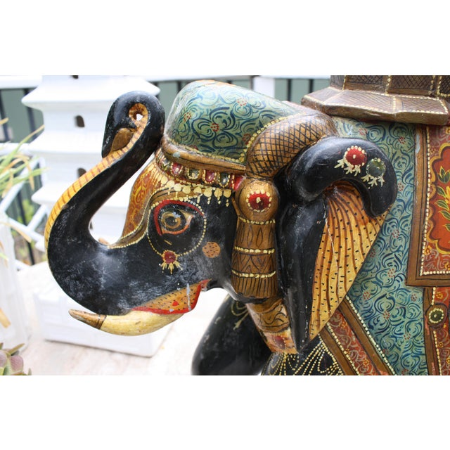 Antique Hand-Painted and Carved Wooden Elephant For Sale - Image 11 of 12