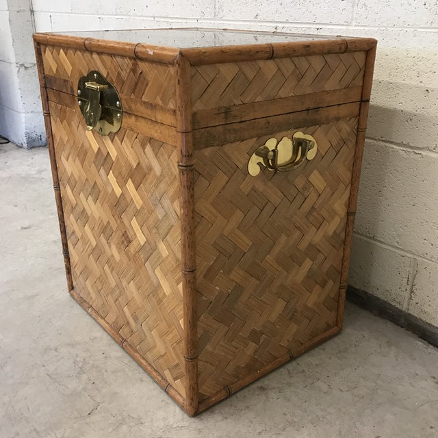 Boho Chic Bamboo & Herringbone Parquet Trunk Chest For Sale - Image 3 of 11