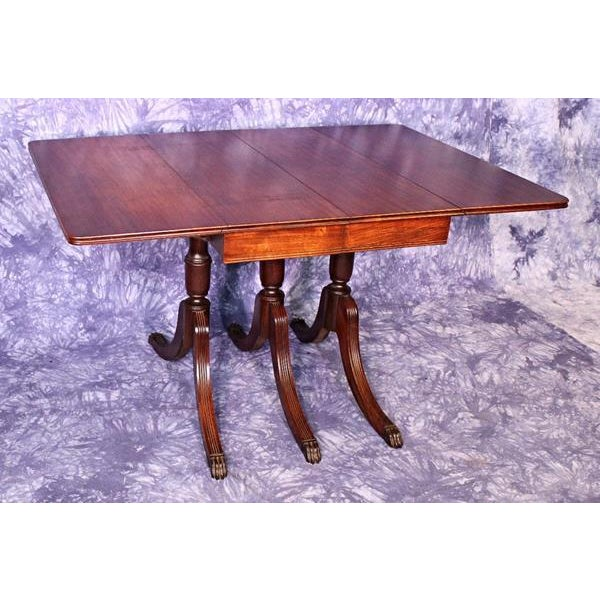 1930 Duncan Phyfe Antique Mahogany Drop Leaf Dining Table | Chairish