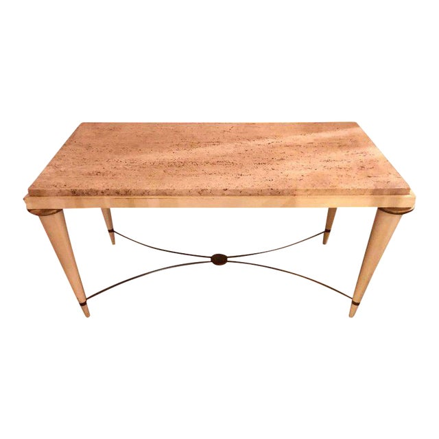 Mid-Century Modern Coffee Table Inset Travertine Marble-Top and Brass Stretcher For Sale