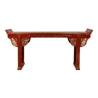 Antique Chinese Red Lacquered Console Table with Gilt Accents and Carved Apron For Sale