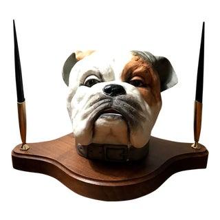Edward Marshall Boehm Porcelain Bisque Bulldog Bust Desk Set For Sale