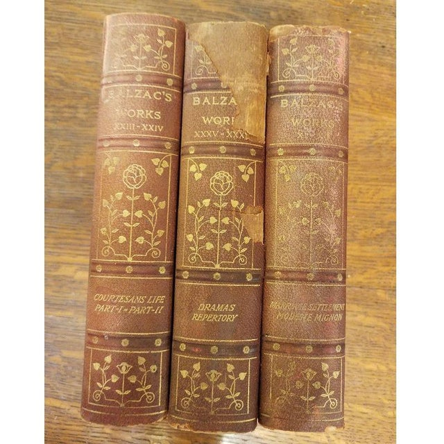 "Brown 11 Volume Vintage ""Balzac's Works"" Leather Books For Sale - Image 8 of 10"