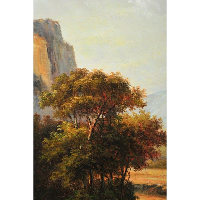 "The Hudson River School 19th C. Hudson River School ""Waterfall Landscape"" Oil Painting For Sale - Image 3 of 9"