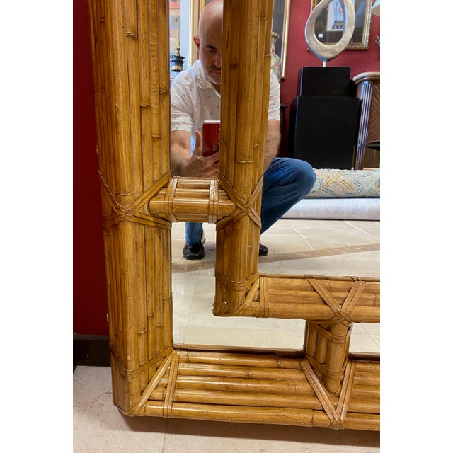 Late 20th Century Vintage Kreiss Rattan Mirror For Sale - Image 5 of 11