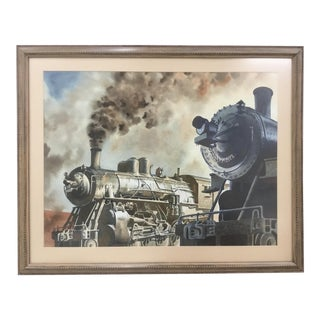 """1980s Original """"Steam Locomotive"""" Watercolor Painting by Francis Wenderoth Saunders For Sale"""