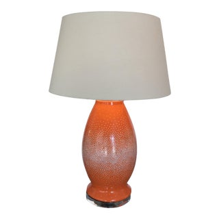 Contemporary Orange Mosaic Lamp With Shade For Sale