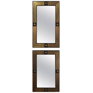 Moroccan Hollywood Regency Style Gold Brass Mirrors - a Pair For Sale