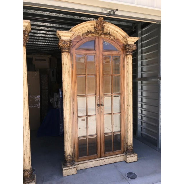 Maitland Smith Display Cabinet with crackle finish, lighted Breakfront. Immaculate condition. Beautiful finishes. Gold...
