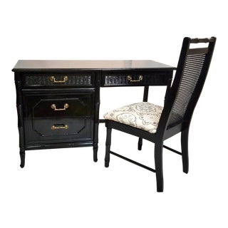 1960s Hollywood Regency Faux Bamboo Writing Desk With Matching Chair - 2 Pieces For Sale
