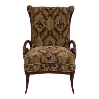 Mid-Century Grosfeld House Mahogany Lee Jofa Fabric Armchair For Sale