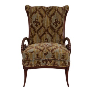 Mid-Century Grosfeld House Mahogany William Morris Fabric Armchair