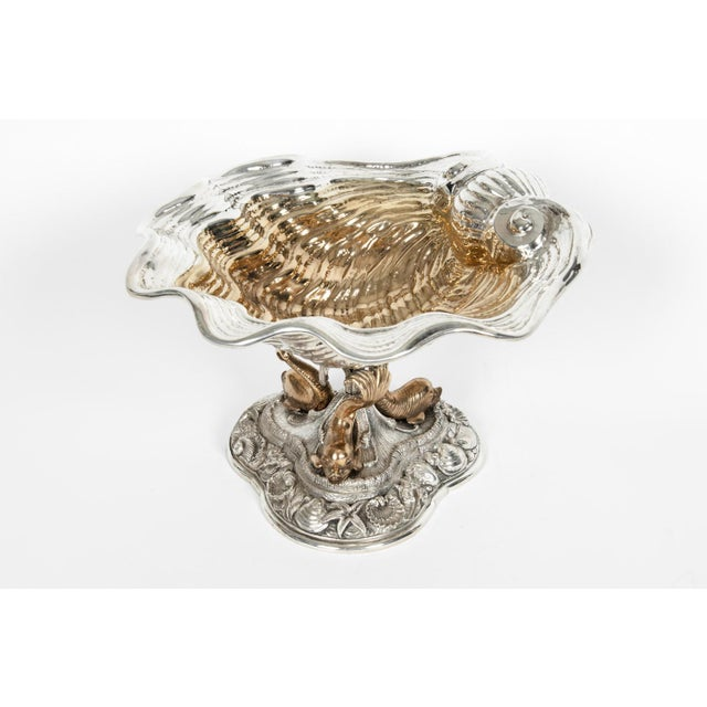 Large antique sterling silver tableware centerpiece with 24-karat gold washes interior and exquisite sea motif design...