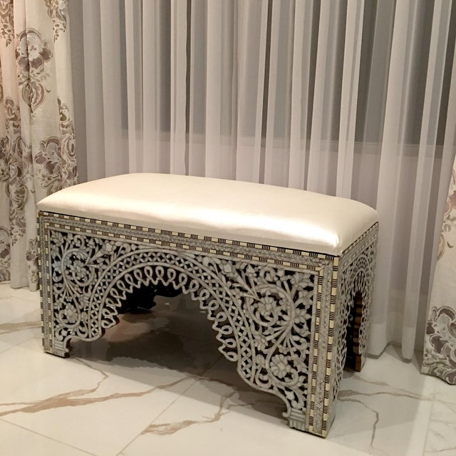 Contemporary Mother of Pearl Inlay Bench For Sale - Image 3 of 8