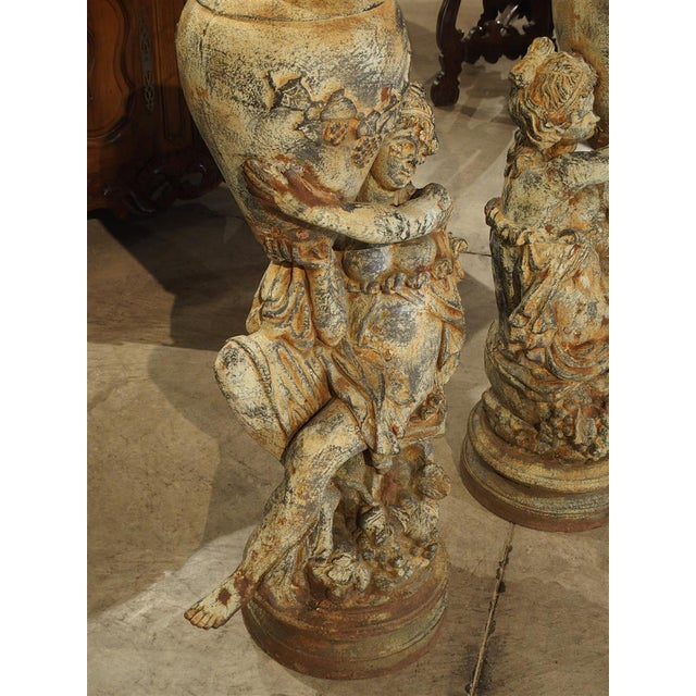 Beautiful Pair of Antique Cast Iron Figural Garden Urns For Sale - Image 12 of 13