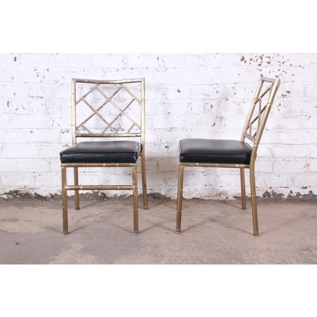1970s Mid-Century Modern Hollywood Regency Faux Bamboo Brass Dining Chairs - Set of 8 For Sale - Image 5 of 13