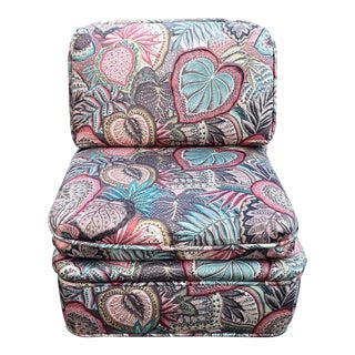 Vintage Baker Printed Slipper Chair For Sale