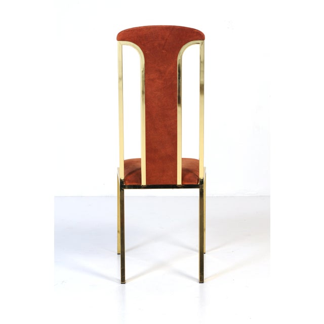 Boho Chic 1970s Italian Suede and Brass Chairs-Set of 6 For Sale - Image 3 of 10