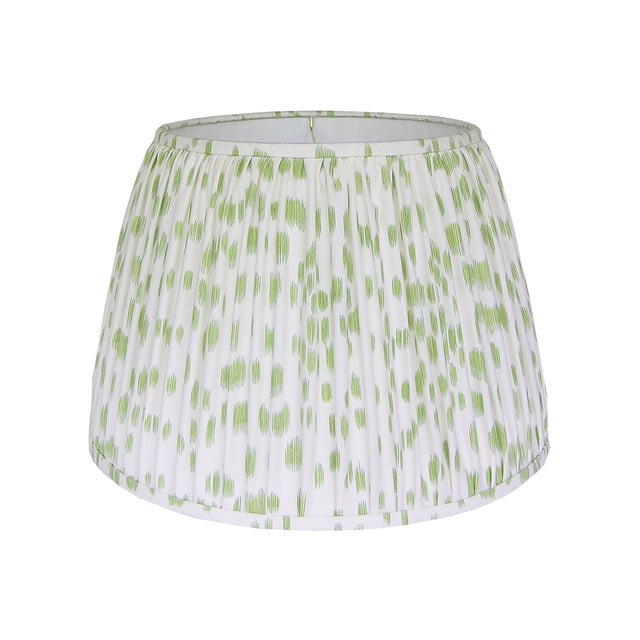 Green Print Pleated Lamp Shade For Sale - Image 4 of 4