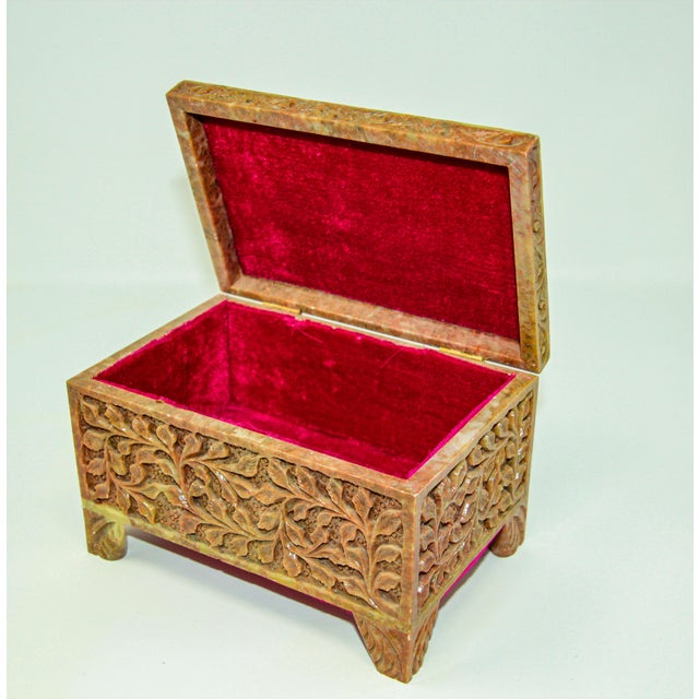 Hand-Carved Stone Jewelry Box Rajasthan, India For Sale - Image 4 of 13
