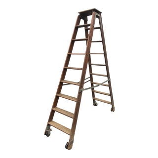 Vintage Industrial Rolling Library Ladder by Putnam For Sale