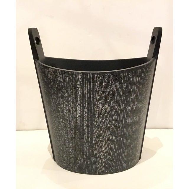 Stylish Global Views Modern Black Cerused Oak Wastebasket, showroom floor sample.