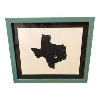 Framed Texas Teal & Black Print