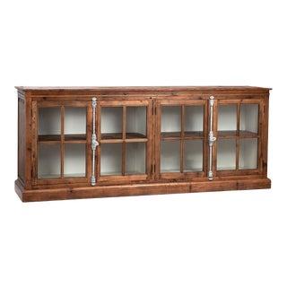 Reclaimed Pine Glass Door Sideboard For Sale