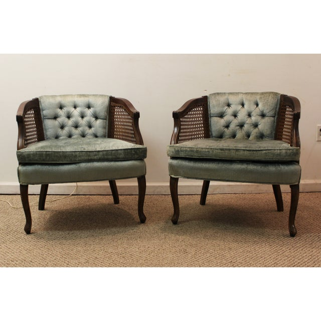 Cane & Tufted-Back Ladies Chairs - A Pair - Image 2 of 10