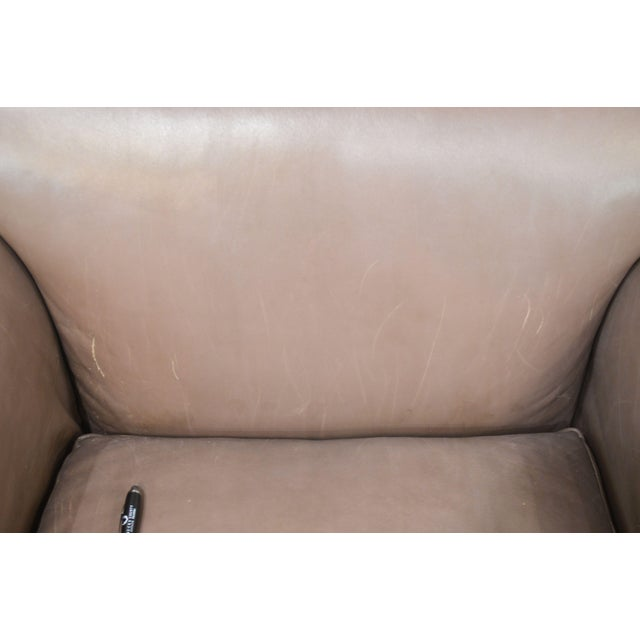 Donghia Leather Lounge Chair With Ottoman For Sale - Image 12 of 13