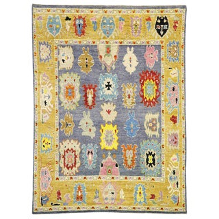 Contemporary Moroccan Shag Rug With Oushak Pattern - 9′3″ × 12′5″ For Sale