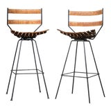Image of 1960s Vintage Arthur Umanoff for Shaver Howard Iron Swivel Bar Stools- A Pair For Sale