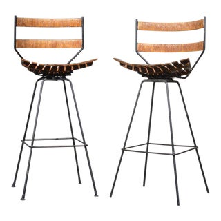1960s Vintage Arthur Umanoff for Shaver Howard Iron Swivel Bar Stools- A Pair For Sale