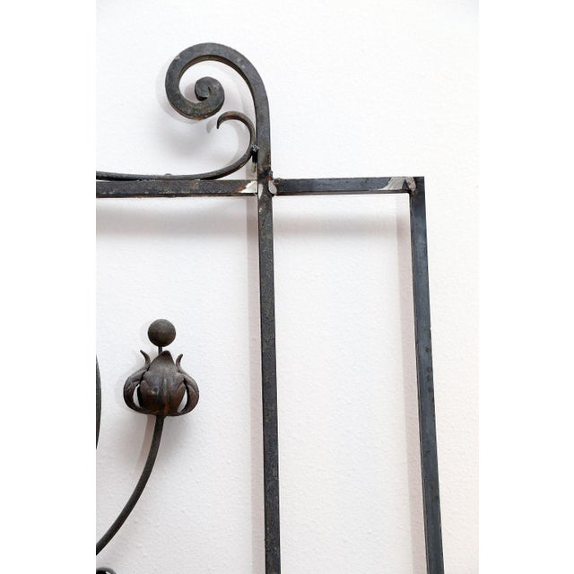 Pair of 19th Century French Forged Iron Gates, later adapted as a Headboard For Sale - Image 4 of 7