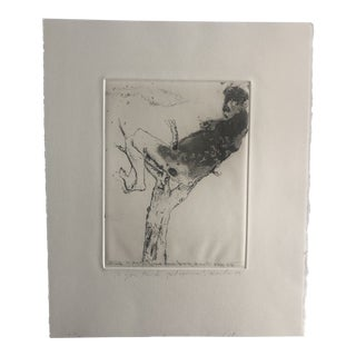 Modern Figural Etching by Dellas Henke, 1979 For Sale
