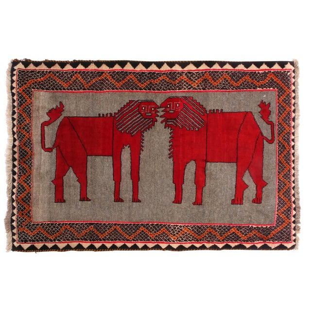 "1950's Vintage Gabbeh Lion Persian Rug-3'1'x5'9"" For Sale"