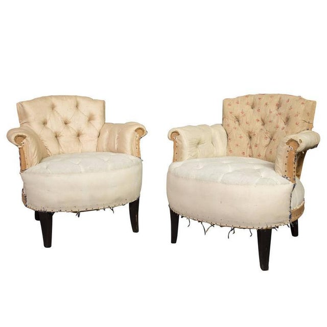 Pair of Small French Art Deco Style Tufted Armchairs For Sale - Image 10 of 10