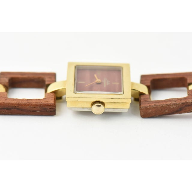 Jules Jurgensen Ladies Gold Plate Wood Mechanical Wristwatch For Sale - Image 9 of 10