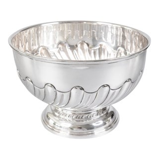 Antique English Silver Plate Hand Chased Footed Bowl For Sale