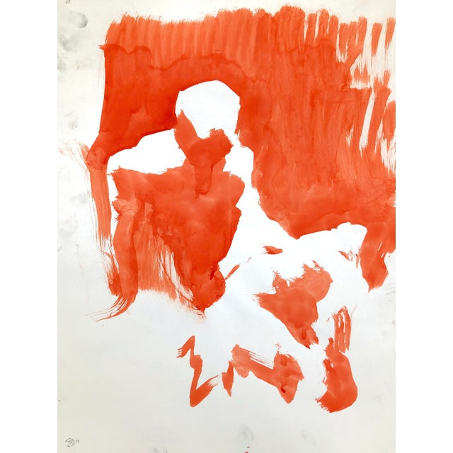 """Contemporary Figure Painting in Orange Ink, """"Seated Figure in Orange"""" by Artist David O. Smith For Sale"""