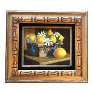Vintage Original Still Life Painting Lemons & Daisies For Sale