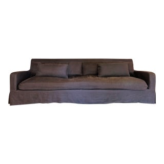 Restoration Hardware Belgian Slope Arm Slipcovered Down Sofa For Sale