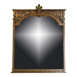 1950s Neoclassical-Style Giltwood Overmantle Wall Mirror For Sale