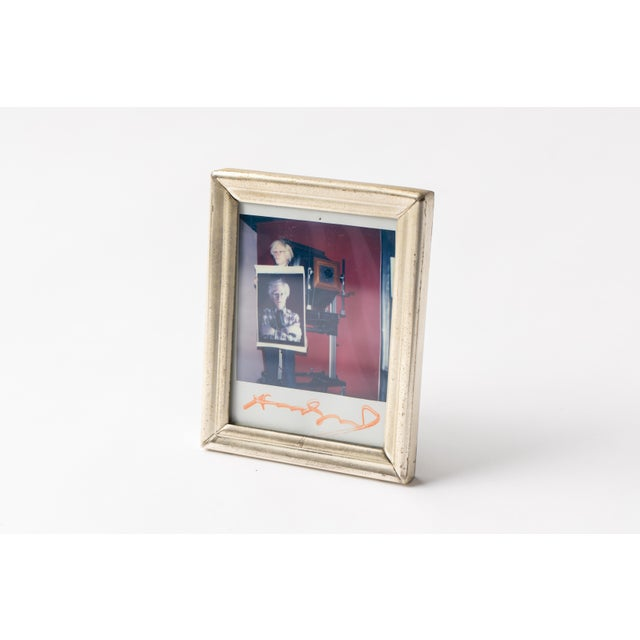 Polaroid of Andy Warhol Holding Polaroid by Bill Ray Signed Andy Warhol For Sale - Image 9 of 11