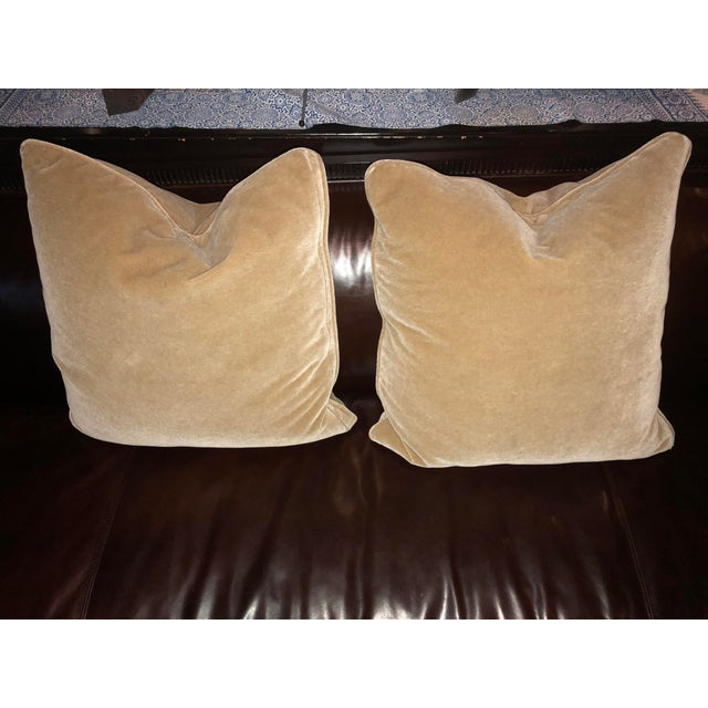 Pair of Mohair Camel Color Pillows For Sale - Image 4 of 4