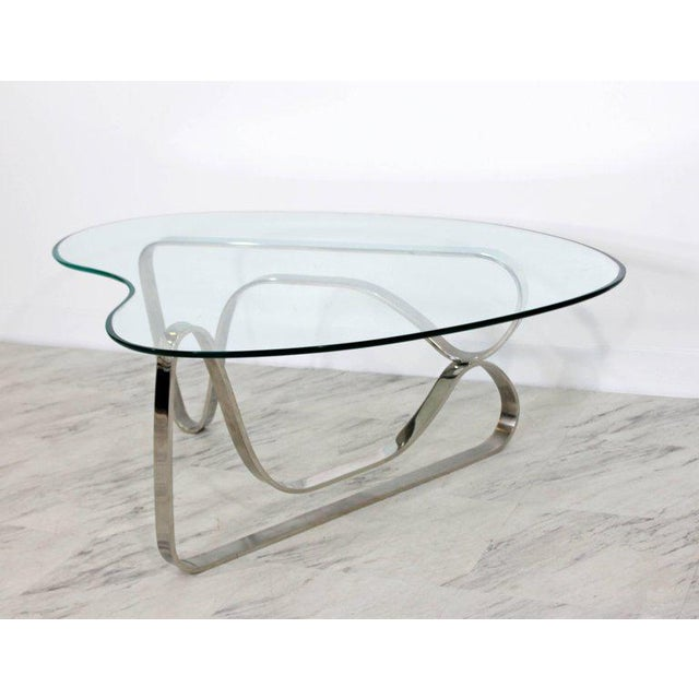 Pace Mid-Century Modern Sculptural Chrome Kidney Glass Coffee Table Pace Era, 1970s For Sale - Image 4 of 10