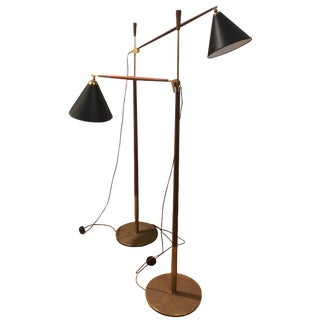 Povl Dinesen Brass and Teak Floor Lamps, 1960s (Sold Individually) For Sale