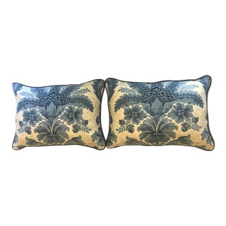 20th Century Bohohemian Indigo Blue & Antique White Floral Pillow Covers - a Pair For Sale